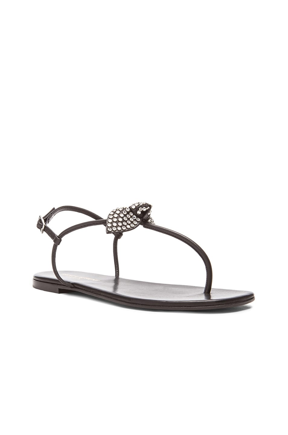 Image 2 of Saint Laurent Nu Pied Studded Bow Leather Sandals in Black