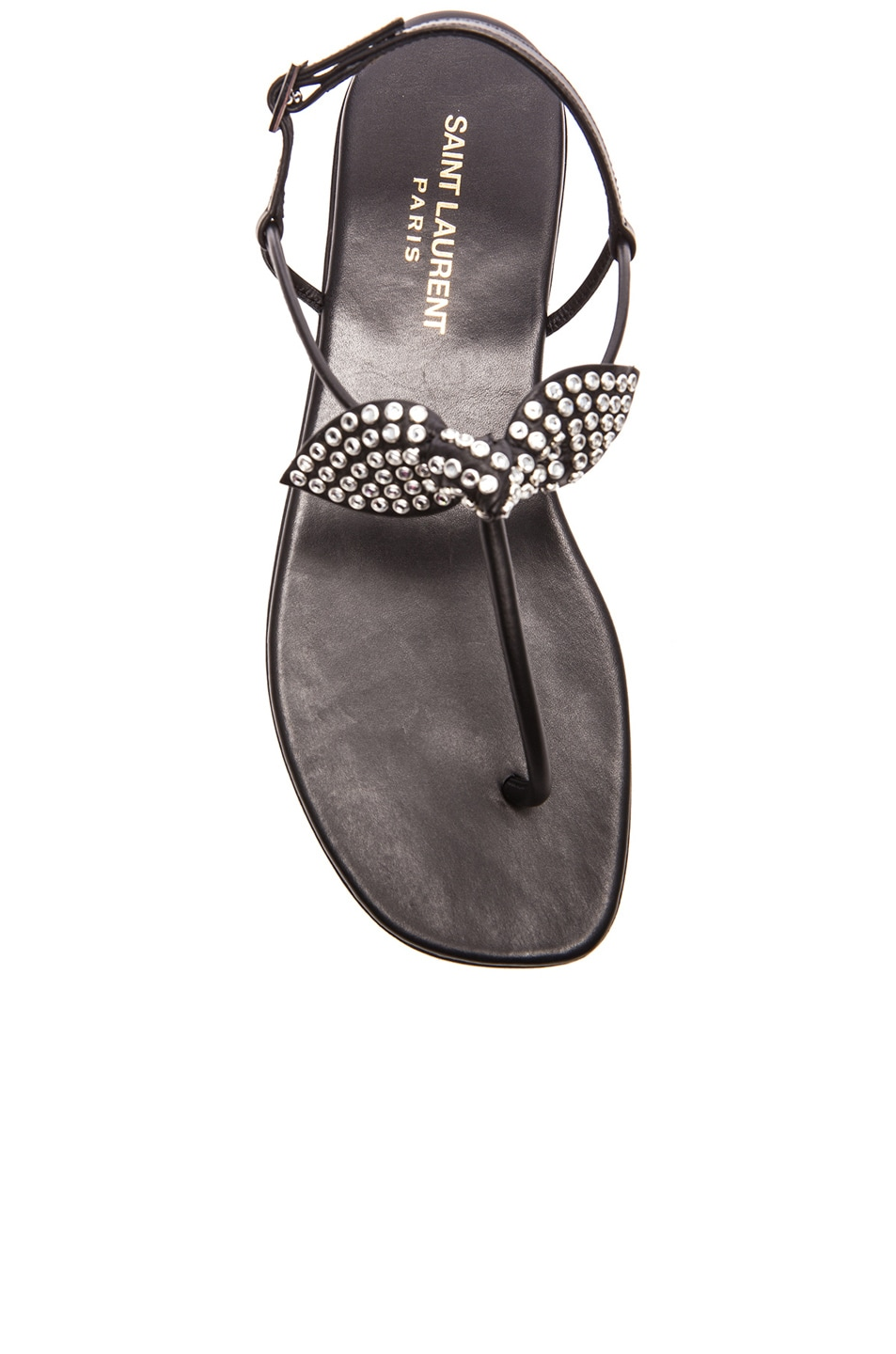 Image 4 of Saint Laurent Nu Pied Studded Bow Leather Sandals in Black
