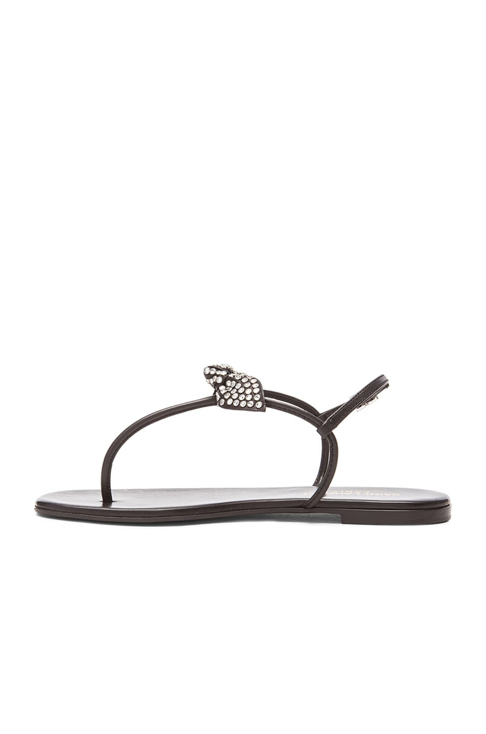 Image 5 of Saint Laurent Nu Pied Studded Bow Leather Sandals in Black
