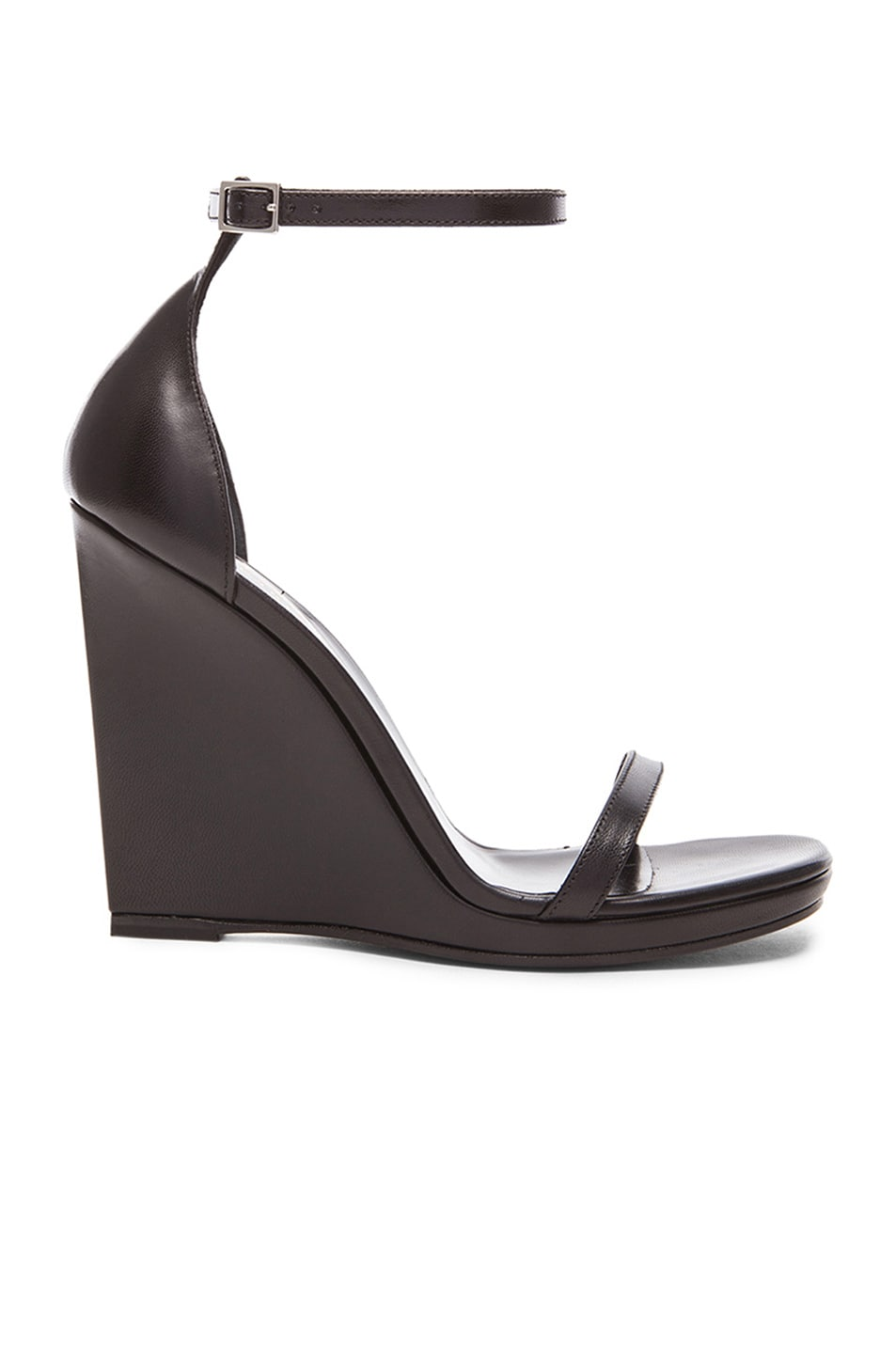 f31aa9e6f00f3 Image 1 of Saint Laurent Jane Leather Wedge Sandals in Black