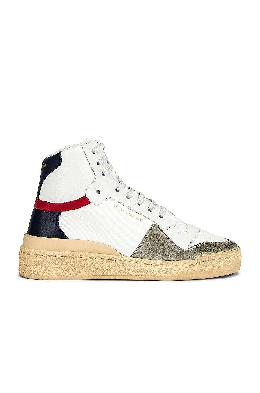 Image 1 of Saint Laurent SL24 Mid Top Sneakers in Blanc Optique
