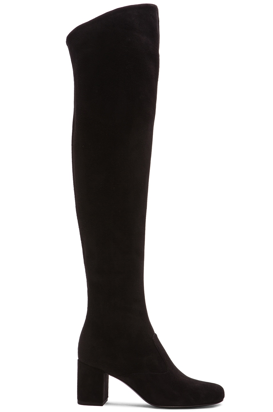 Image 1 of Saint Laurent Suede BB Thigh High Boots in Black