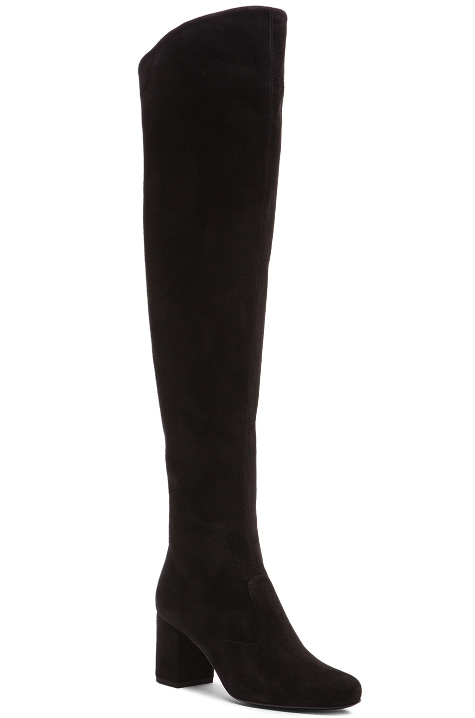 Image 2 of Saint Laurent Suede BB Thigh High Boots in Black