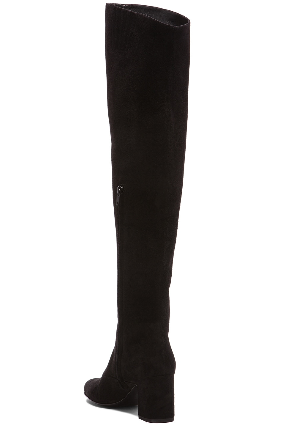 Image 3 of Saint Laurent Suede BB Thigh High Boots in Black