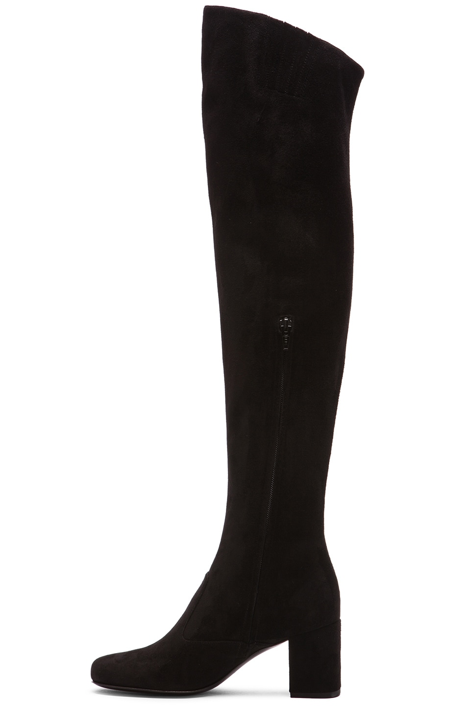 Image 5 of Saint Laurent Suede BB Thigh High Boots in Black