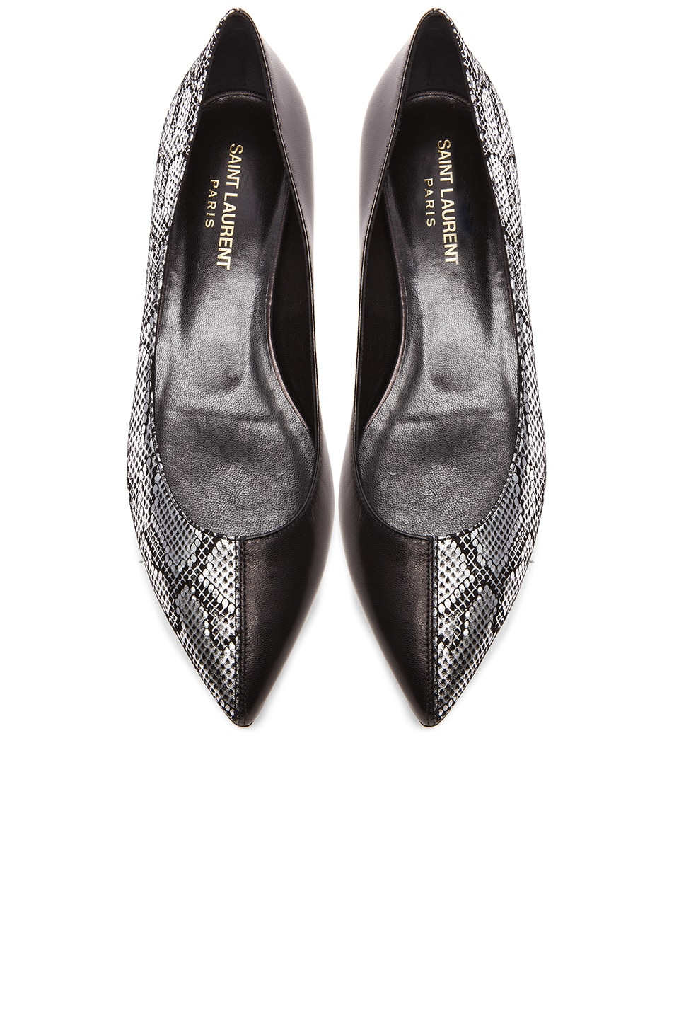 Image 1 of Saint Laurent Leather Flats in Black & Python Platine