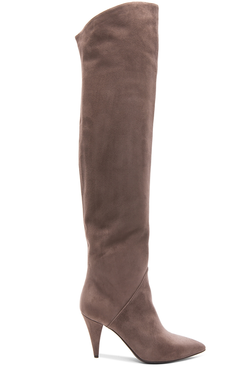 Image 1 of Saint Laurent Thigh High Cat Suede Boots in Dark Anthracite
