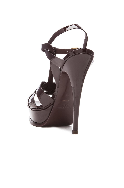 Image 3 of Saint Laurent Tribute Patent Leather Platform Sandals in Bordeaux