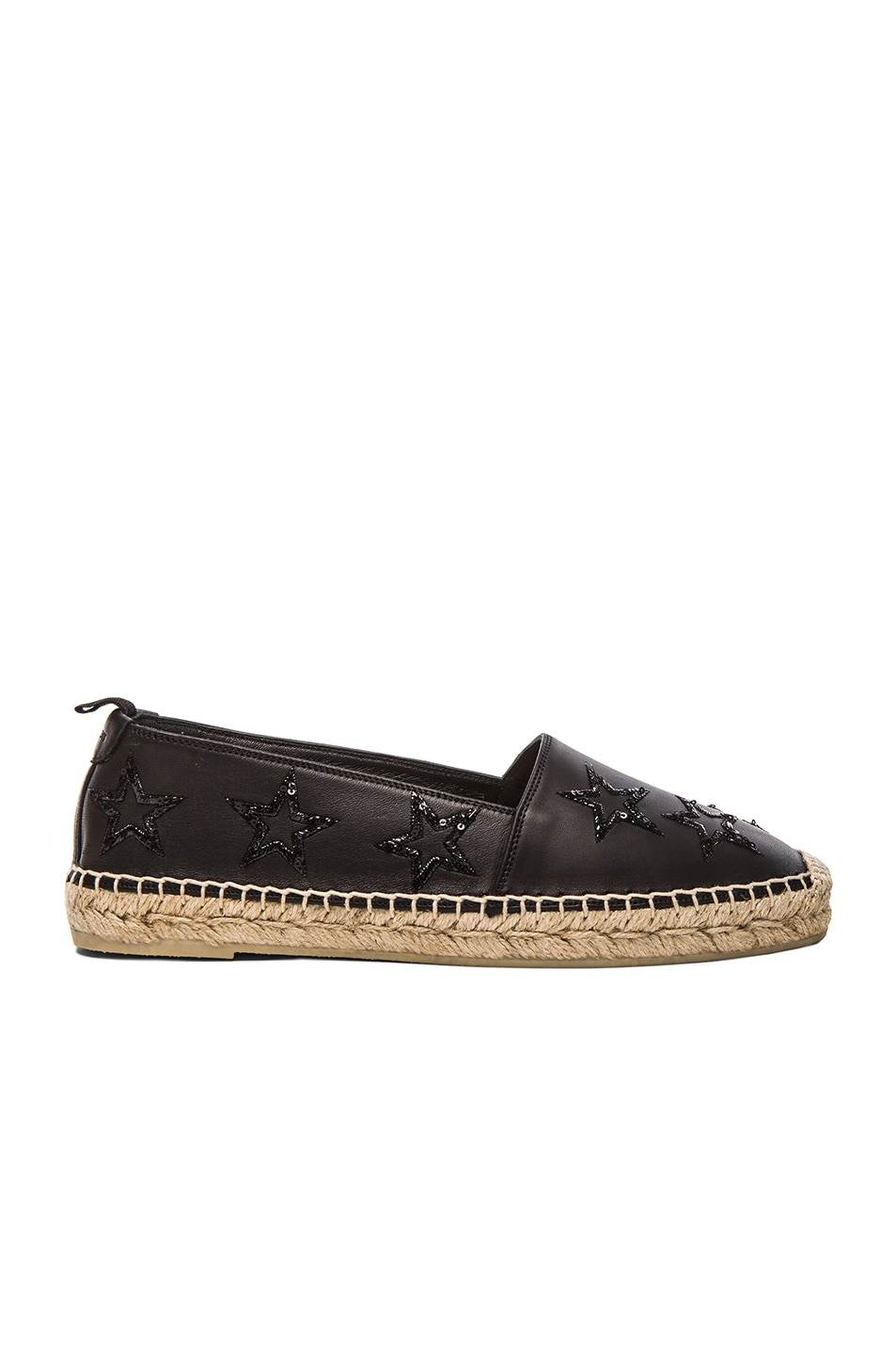 Image 1 of Saint Laurent Star Studded Leather Espadrilles in Black