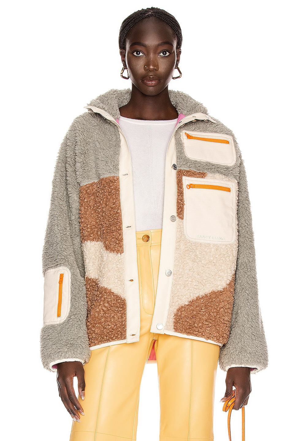 Image 1 of Sandy Liang Otto Fleece in Concrete & Woody