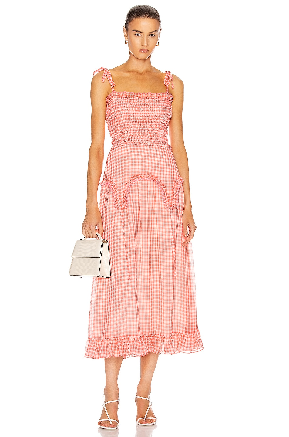 Image 1 of Sandy Liang Rainer Dress in Orange Gingham