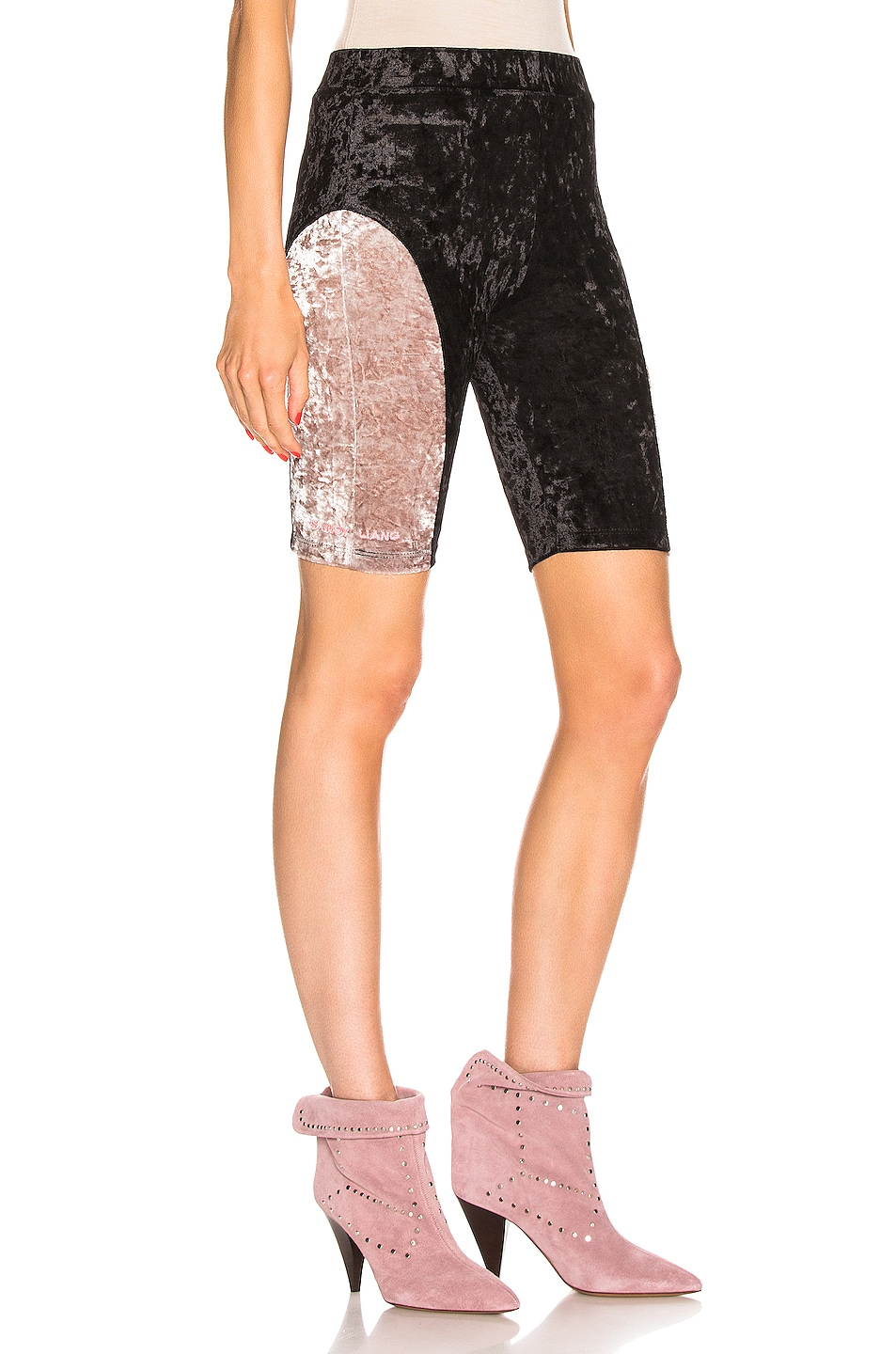 Image 2 of Sandy Liang Bobo Shorts in Black & Dusty Pink