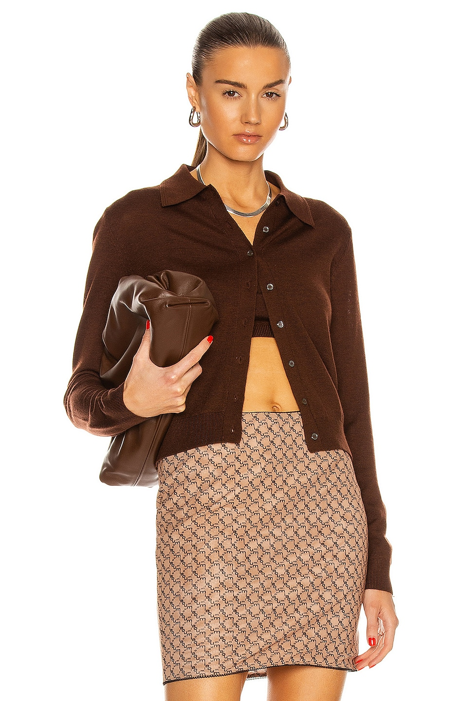 Image 1 of Sandy Liang Summers Long Sleeve Cardigan in Cocoa
