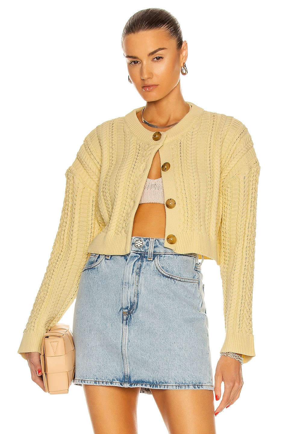 Image 1 of Sandy Liang Naomi Cardigan in Butter