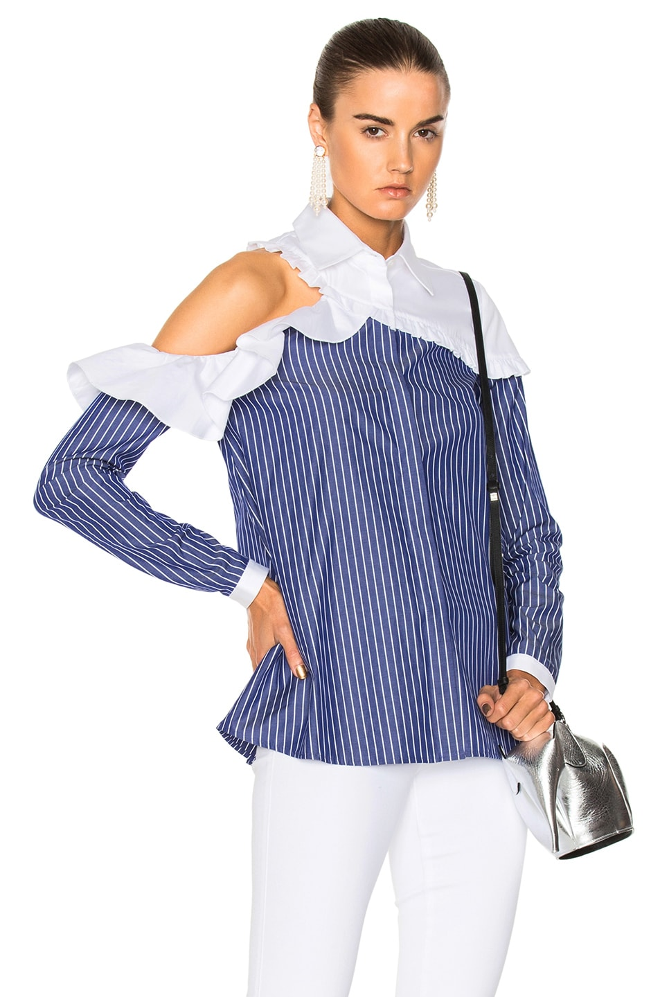 Sandy Liang Charles Shirt in Blue,White,Stripes