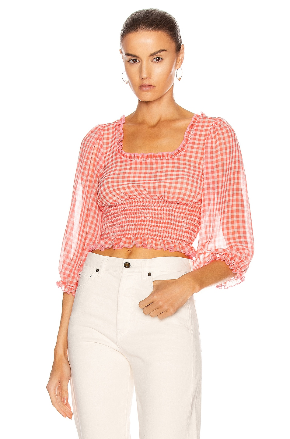 Image 1 of Sandy Liang Moana Top in Orange Gingham