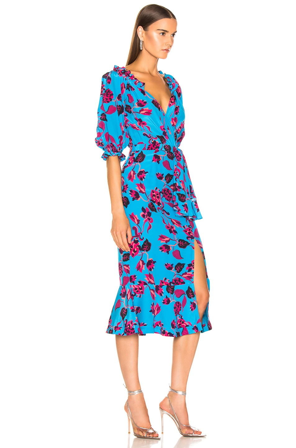 Image 2 of SALONI Olivia Dress in Turquoise Japonica