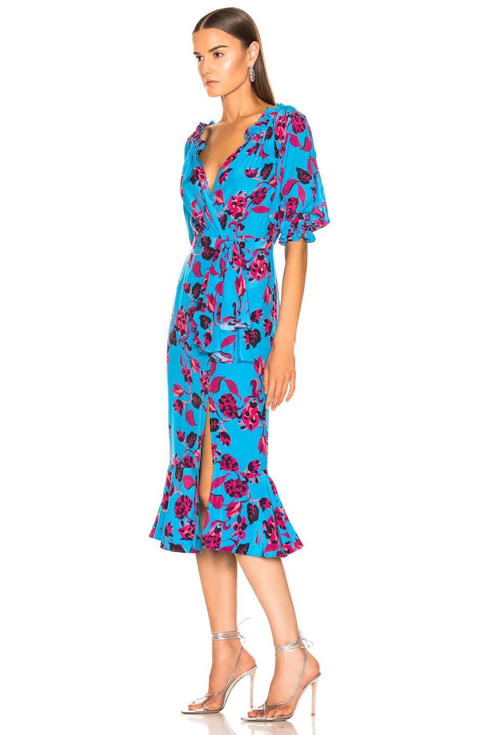 Image 3 of SALONI Olivia Dress in Turquoise Japonica