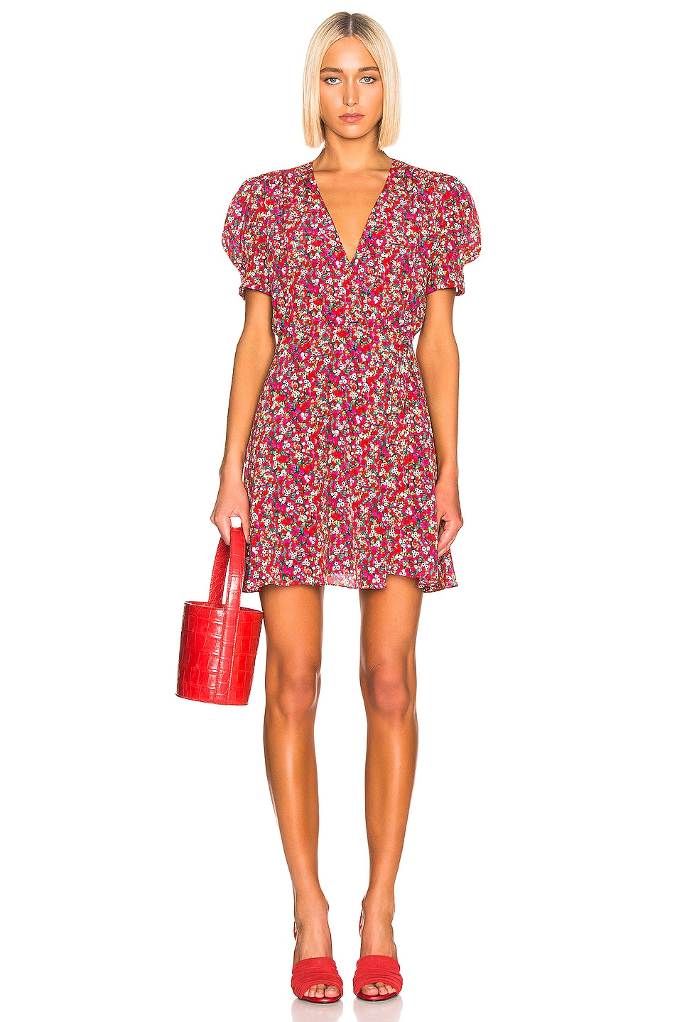 Image 1 of SALONI Lea Wrap Dress in Red Poppyfield