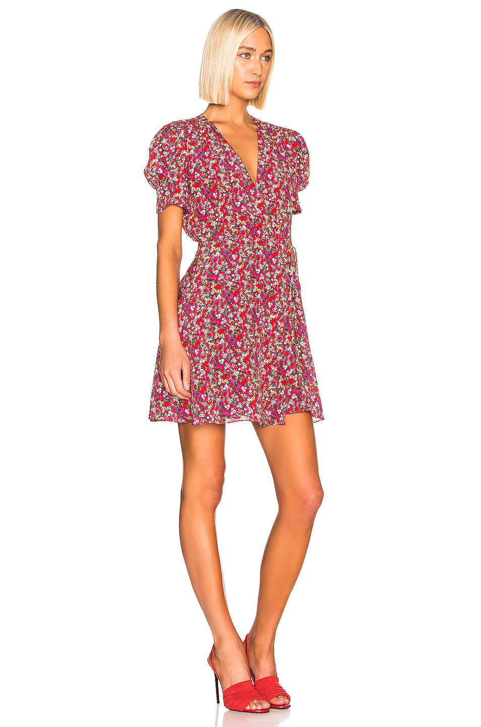 Image 2 of SALONI Lea Wrap Dress in Red Poppyfield