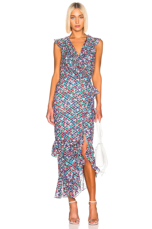 Image 1 of SALONI Anita Dress in Blue Poppyfield