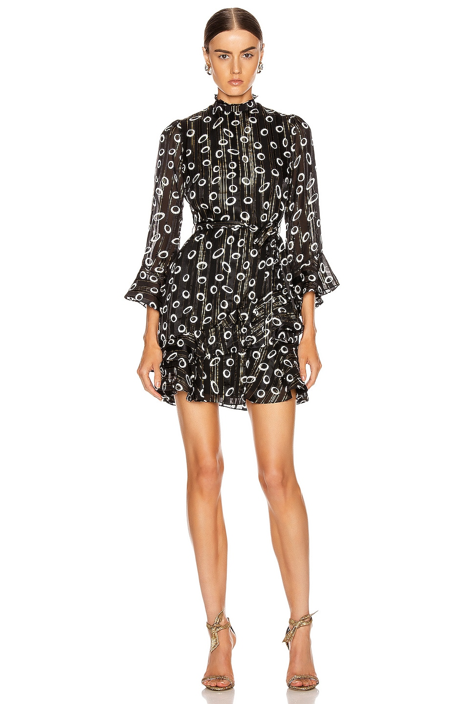 Image 1 of SALONI Marissa Mini Dress in Space Dot & Black