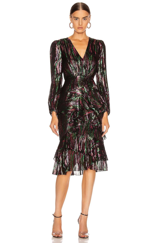 Image 1 of SALONI Alya Dress in Black Rainbow