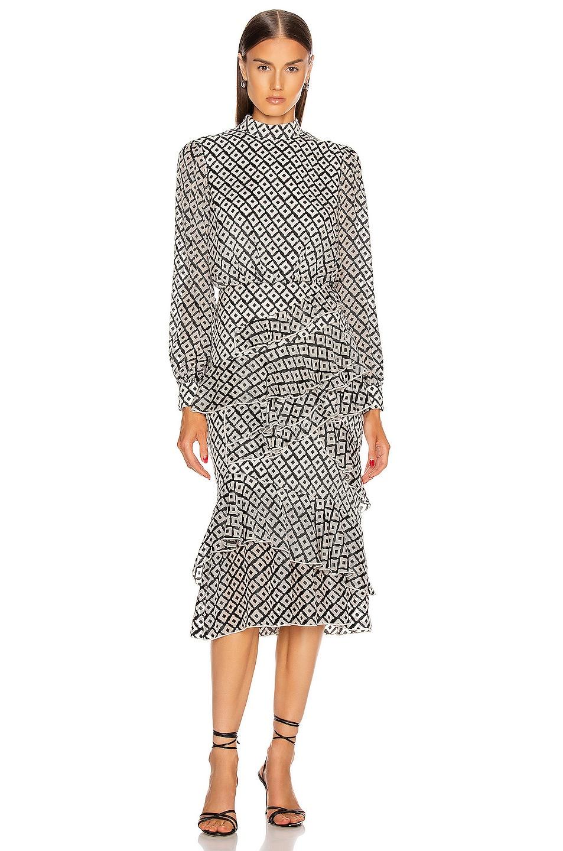 Image 1 of SALONI Isa Ruffle Dress in Ivory & Black