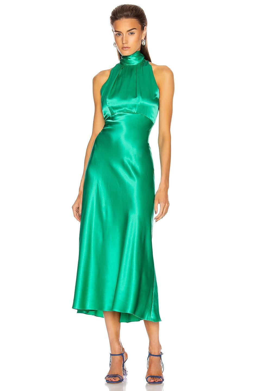 Image 1 of SALONI Michelle Midi B Dress in Aloe