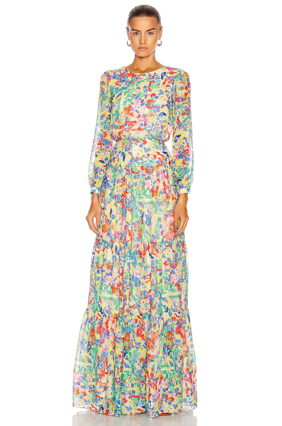 Image 1 of SALONI Isabel Long Dress in Summer Confetti