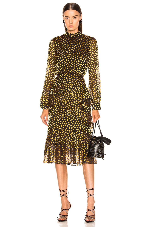 Image 1 of SALONI Isa Ruffle Dress in Black & Yellow