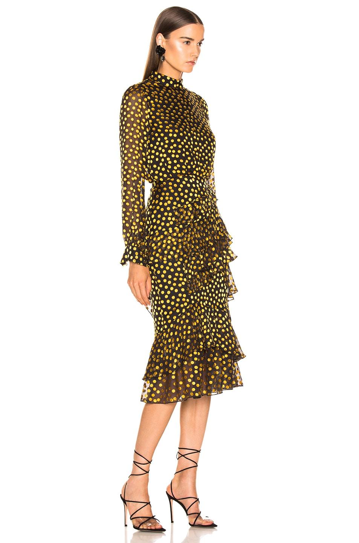 Image 2 of SALONI Isa Ruffle Dress in Black & Yellow