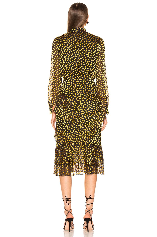 Image 3 of SALONI Isa Ruffle Dress in Black & Yellow