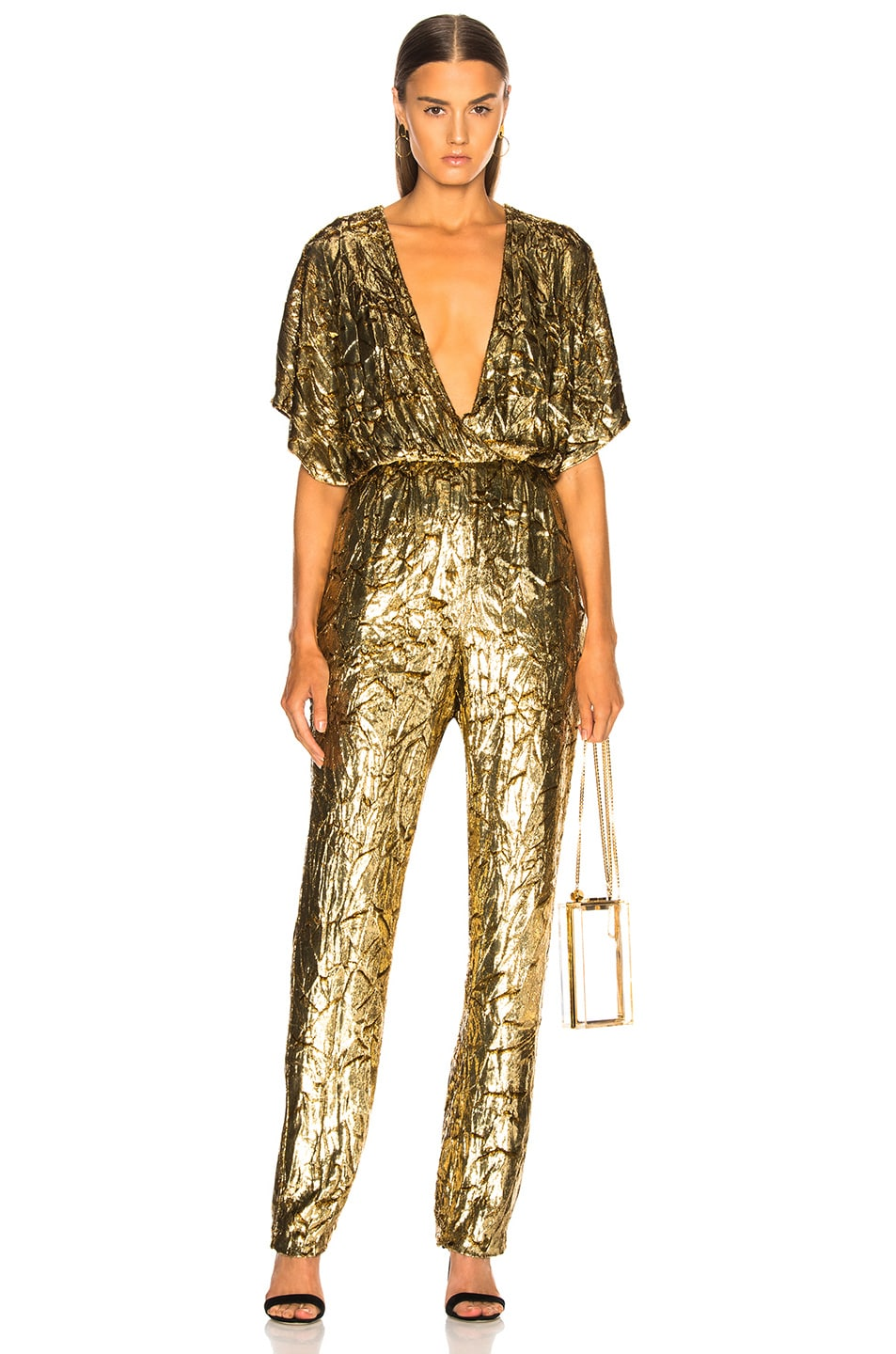 Image 1 of Sally Lapointe Silk Velvet Pleated Jumpsuit in Gold