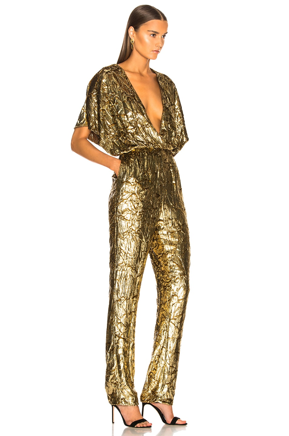 Image 2 of Sally Lapointe Silk Velvet Pleated Jumpsuit in Gold
