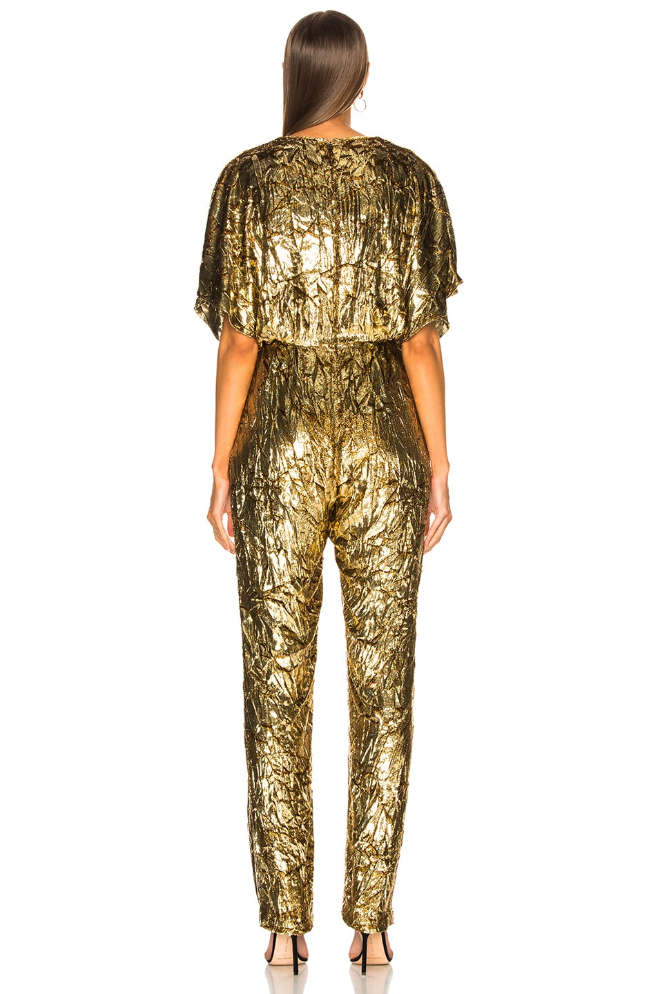 Image 3 of Sally Lapointe Silk Velvet Pleated Jumpsuit in Gold