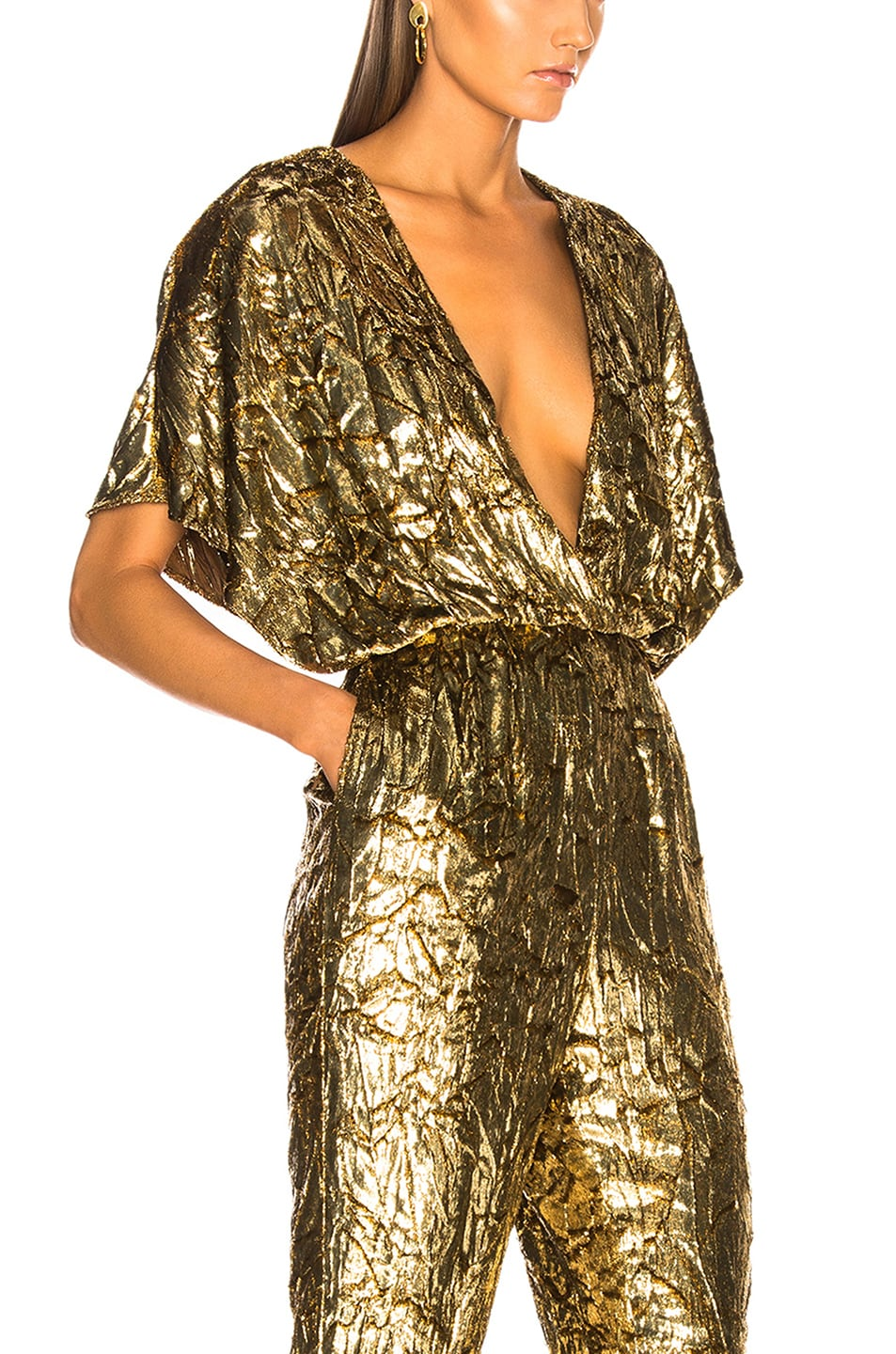 Image 4 of Sally Lapointe Silk Velvet Pleated Jumpsuit in Gold