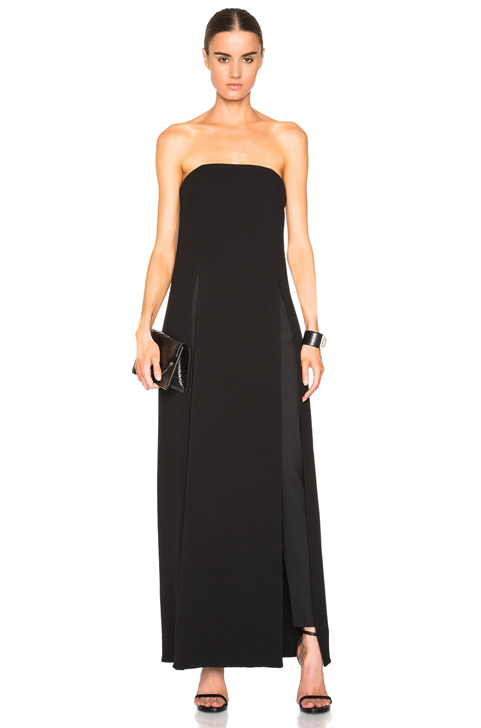 Image 1 of Sally Lapointe Double Faced Wool Crepe Long Slit Bustier in Black