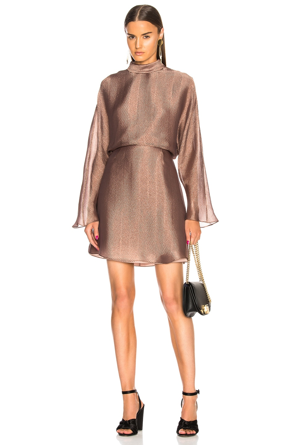 Image 1 of Sally Lapointe Metallic Silk Herringbone Dolman Dress in Mauve