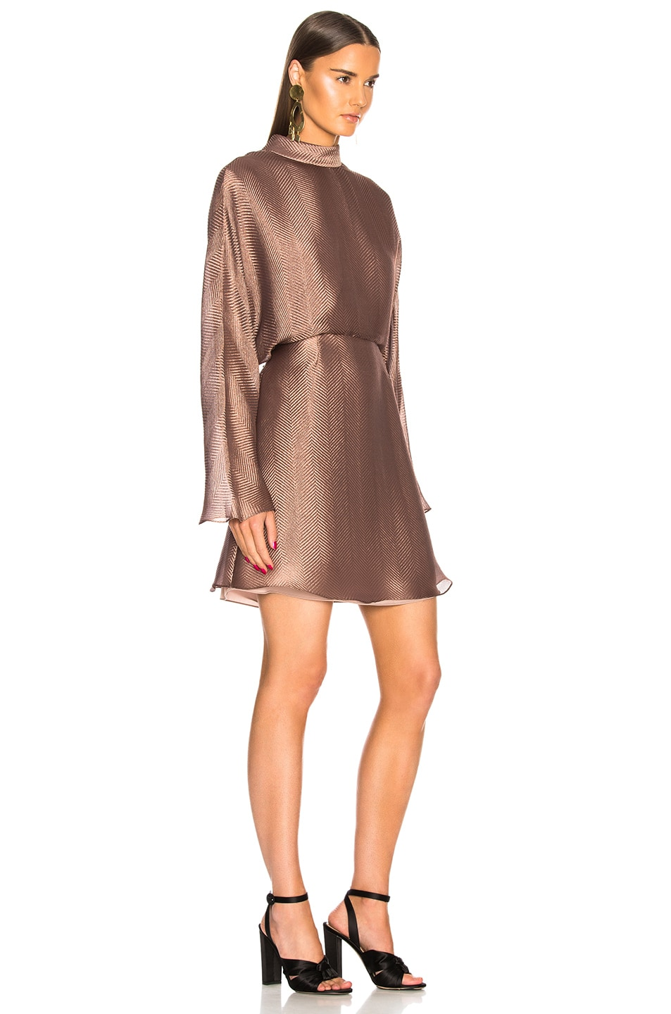 Image 2 of Sally Lapointe Metallic Silk Herringbone Dolman Dress in Mauve