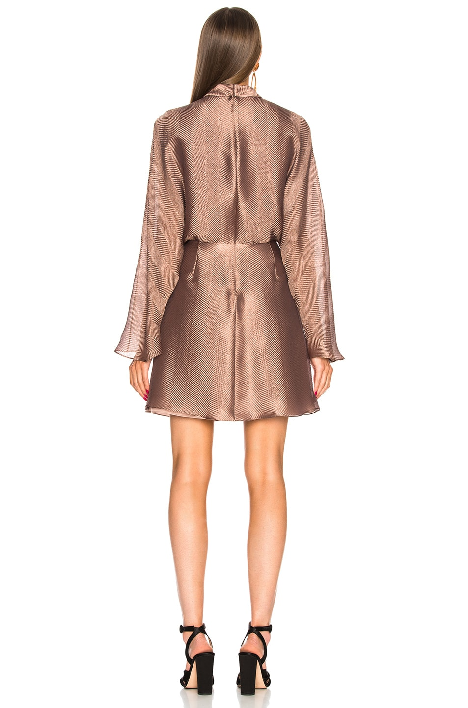 Image 3 of Sally Lapointe Metallic Silk Herringbone Dolman Dress in Mauve