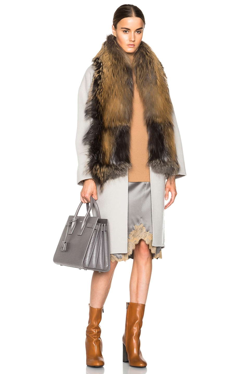 Image 1 of Sally Lapointe Double Splittable Wool Cocoon Coat with Fox Fur Collar in Stone