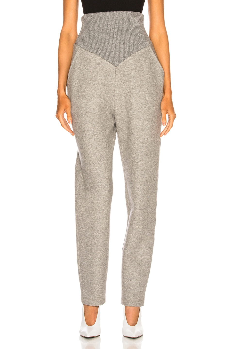 Sally Lapointe SALLY LAPOINTE COTTON JERSEY CORSETED SWEATPANT IN GREY