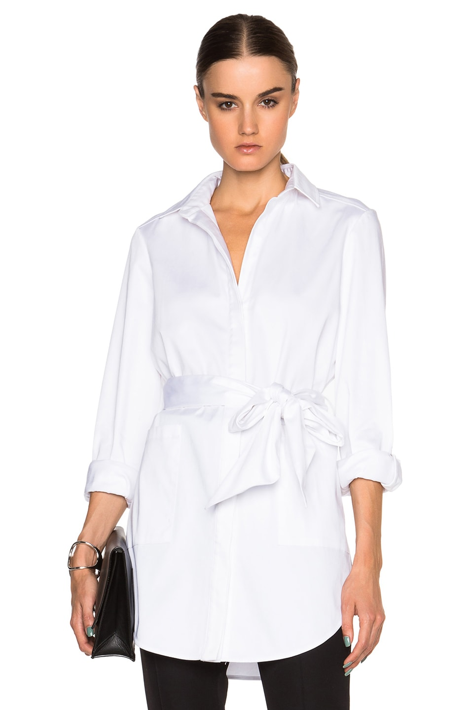 Image 1 of Sally Lapointe Stretch Cotton Oversized Shirt with Wrap Belt in White