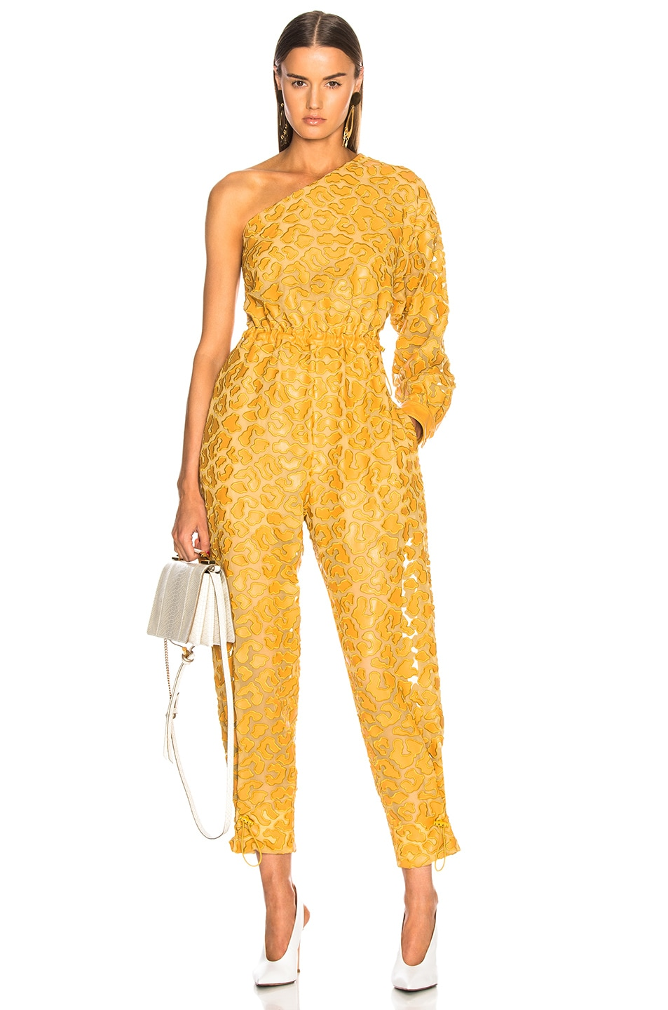 Image 1 of Stella McCartney Leopard Print Burnout One Shoulder Jumpsuit in Honey Yellow