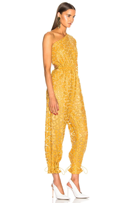 Image 2 of Stella McCartney Leopard Print Burnout One Shoulder Jumpsuit in Honey Yellow