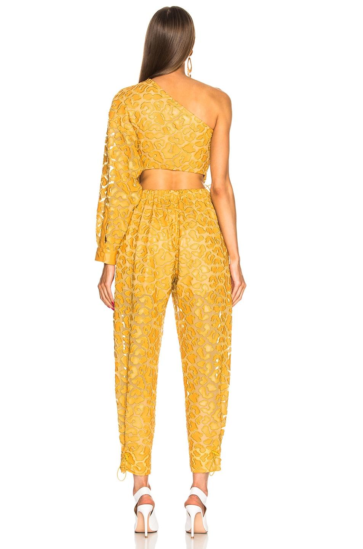 Image 4 of Stella McCartney Leopard Print Burnout One Shoulder Jumpsuit in Honey Yellow