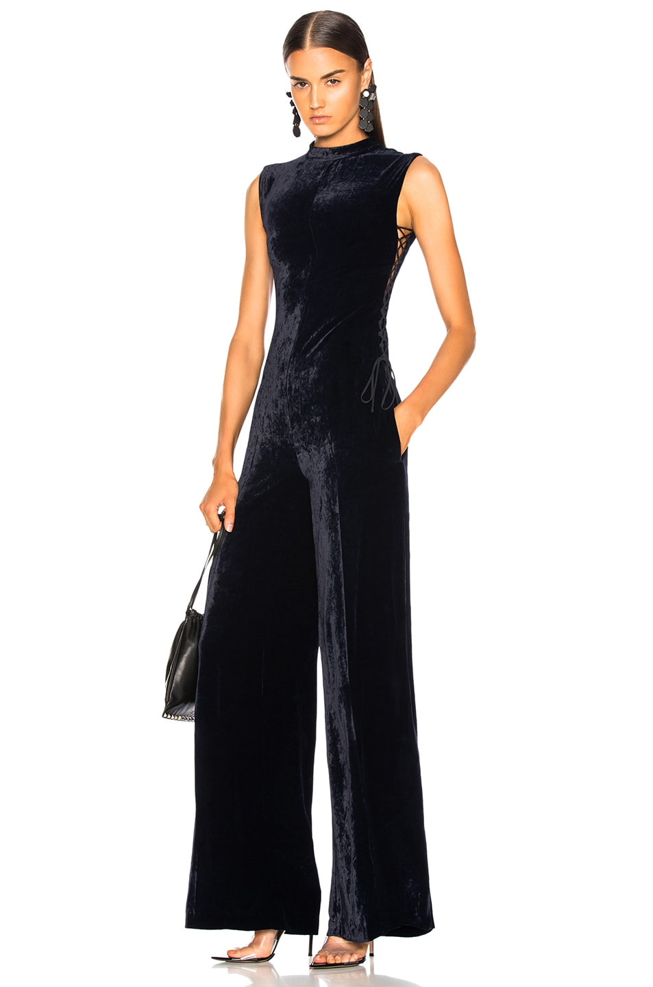 Image 1 of Stella McCartney Sleeveless Velvet Jumpsuit in Ink