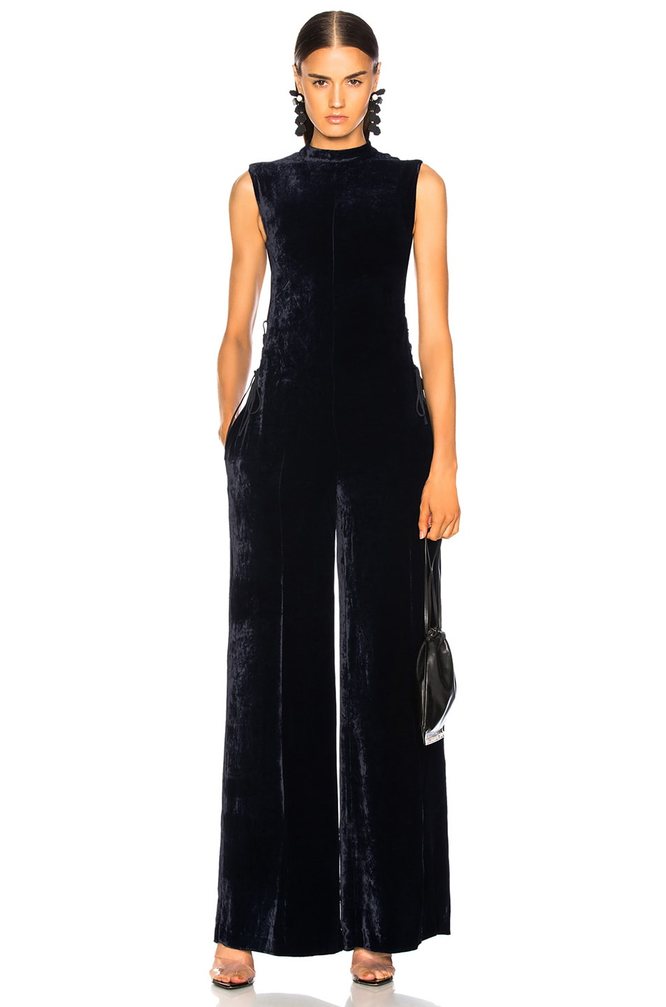 Image 2 of Stella McCartney Sleeveless Velvet Jumpsuit in Ink
