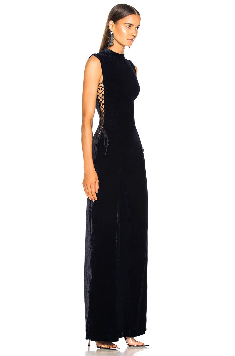 Image 3 of Stella McCartney Sleeveless Velvet Jumpsuit in Ink